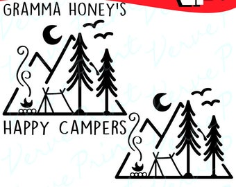 Forest Camping Svg, Dxf, Ai, Eps, Pdf, Png, Camper svg, Silhouette Cutting file, Vector Clipart, Iron On, Sublimation