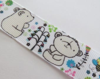 White polar bear baby patterns, bees and flowers grosgrain Ribbon
