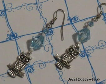 Whimsical OWL & translucent blue Pearl style earrings