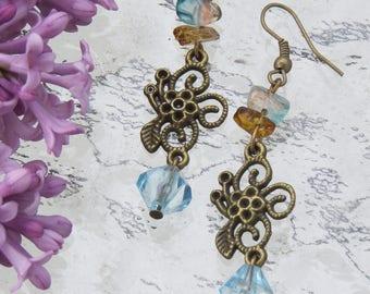 Bronze earrings pretty frills by JosieCoccinelle