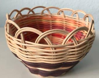 "Hand woven basket titled ""Orange Geode"" Authentic Native America Art double wall basket handmade basket"