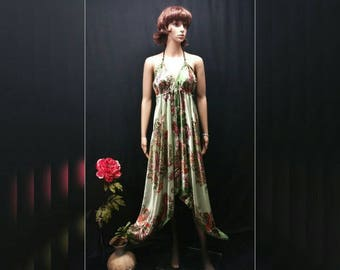 Women Scarf Dress - Green Floral Handkerchief Dress, Boho Asymmetrical Satin Scarf Dress, Bandana Dress, Cruise Beach Summer Festival Dress