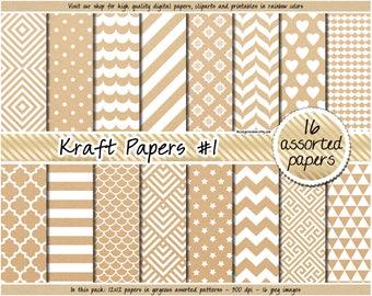 SALE Kraft digital paper Kraft background Kraft patterned paper printable Kraft tags Kraft labels cardboard texture kraft wrapping paper