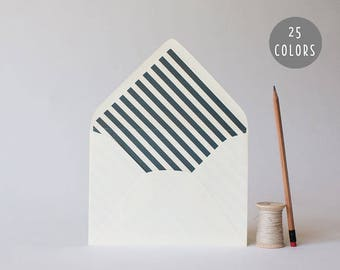 thick diagonal stripe lined envelopes (25 color options) - sets of 10  // modern envelope liners wedding shower party invitation invite
