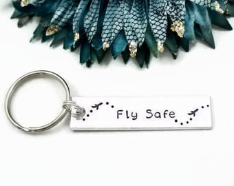 Fly Safe Keychain | Airplane Keychain | Flight Attendant Gifts | Travel Keychain | Gifts For Pilots | Travel Gifts Flight Attendant Keychain