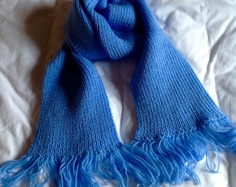 Long light blue hand-knitted scarf