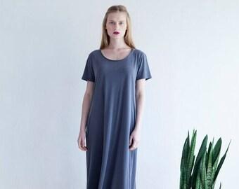 Short Sleeve Dress,Gray Maxi Dress, Oversize Dress, Summer Grey Dress