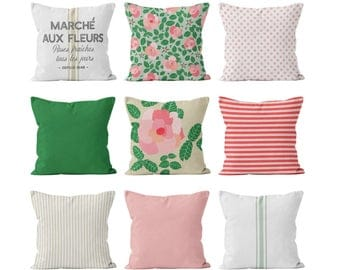 French Country Pillow Cover Set in Pink Green Neutral, French Country Cottage Decor, Farmhouse Flowers Roses Ticking Grain Sack Polka Dots