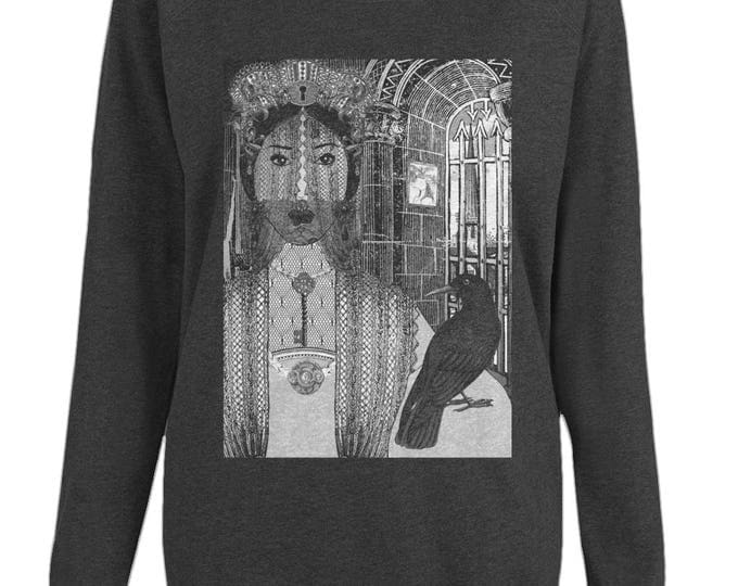 Lady Teardrop Original Illustration Womens Organic Cotton Raglan Sweatshirt. Black.
