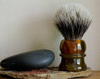 Travel Shaving Brush - Tortoise Shell Resin Handle Hand-Made with Two Band Finest Badger Knot