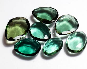 50% OFF - Green Tourmaline Rose Cut Gemstone 14x10 To 19x14 mm Green Gemstone Loose Stone 7 Pieces Lot (A-115)
