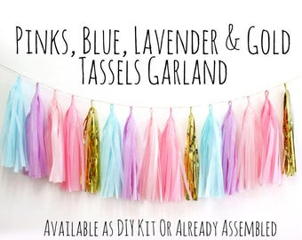 Pink, Blue, Lavender, Gold Tassel Garland with Jute Twine, Unicorn Colors Backdrop, Photo Prop, Party Decoration, Wall Decor, Birthday Decor