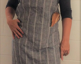 Steel Blue Linen Apron with Pockets, yarn dyed linen apron, eco friendly, softened linen apron, gift for teacher, gift, gift for her