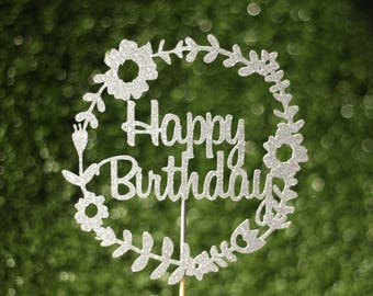 Happy Birthday flower cake topper