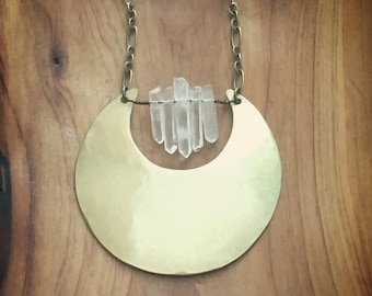 brass and small crystal circle necklace