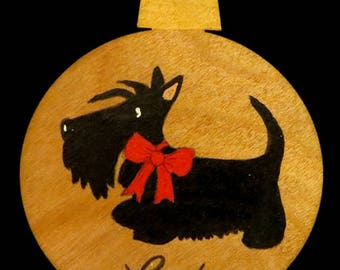 Wooden Scottie Silhouette Christmas Ornament