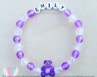 Teddy Bear - Personalized Handmade Bracelet - PURPLE