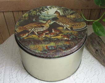 Maurice Lenell and Currier and Ives Tin Large Pheasant Scene Metal Container Vintage Kitchen Storage