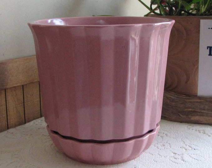 Haeger Pottery Flower Pot Mauve or Pink Self Watering Indoor Gardens and Succulents Vintage Planters and Pots