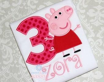 Personalized Peppa Pig Birthday Shirt - Disney - Applique - Girls - Party - Birthday