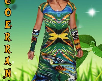 """Tunic, skirt and sleeves, skirt, stretch tunic, asymmetrical tunic """"Happy colors..."""""""