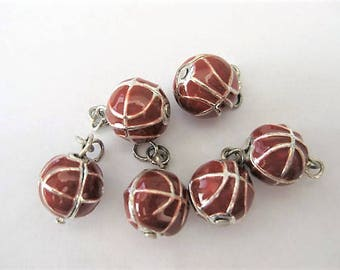 Jewelry Supplies ~  Basketball  Charm  Enamel   Sold per piece