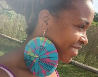 Earring collection Disccreole in African fabric Earring for women and teen circle about 13 cm for a chic ethnic m style