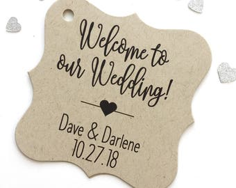 Welcome to Our Wedding Kraft Cardstock Wedding Tags, Wedding Favor Tags, Favor Tags, Party Favor Tags (FS-219-KR)