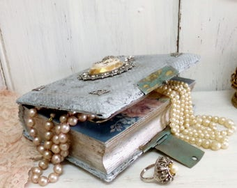 Victorian Cameo book jewelry box distressed album
