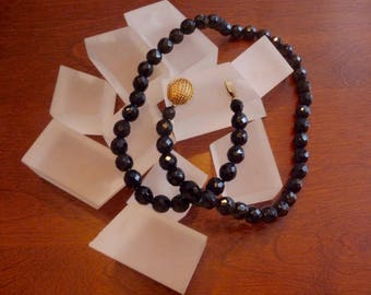 Vintage Single Strand Faceted Jet Black Crystal Necklace/Black Crystal Necklace Single Strand/Black Crystal Necklace Fancy Clasp