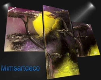Abstract painting landscape magic purple
