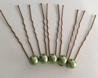 5 pins hair accessories green wedding pearls