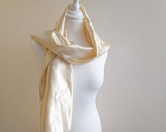 Scarf champagne satin 145/30 cm stole wedding/baptism/party/cocktail