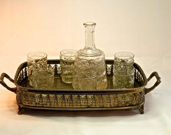 Vintage decanter  with 6 glasses and tray