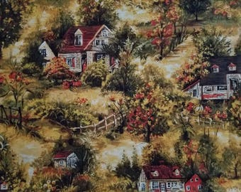 Fall Country Houses Cotton Fabric by the yard