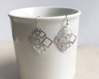 Silver geometric earrings, modern earrings, everyday jewelry, simple earrings, dangle drop earrings, gift,