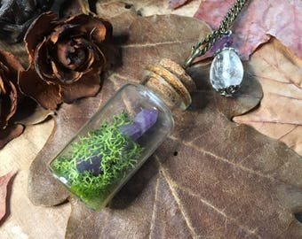 "Necklace ""Feenglas"" with amethyst and dandelion seeds"