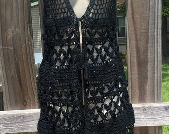 Handmade Crochet Black Long Vest - Perfect for Layering - Adult Medium/Large