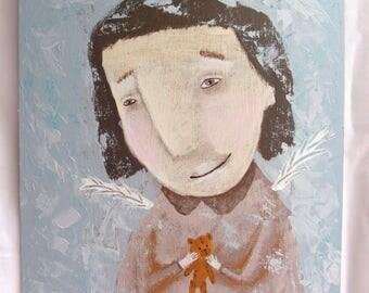 """BEST FRIENDS Original Acrylic Painting 24x30 cm, 9""""x12"""" Portrait Face Painting"""