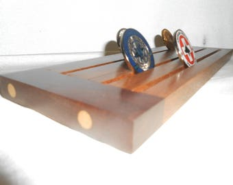 """FREE SHIPPING - Reclaimed Walnut Floor Hardwood Challenge Coin Holder with Rustic Hickory Breadboard Ends - 5.5"""" x 13"""""""