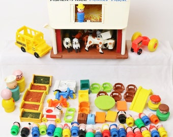 Huge Lot of Fisher Price Little People Play Family - Chunky Farm School Bus