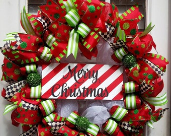 Merry Christmas Wreath, Deco Mesh Christmas Wreath, Christmas Front Door Wreath, Red and White Christmas Wreath,Deluxe Christmas Wreath