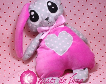 Hare fabric all soft pink made me a cuddly 30 cm name embroidered