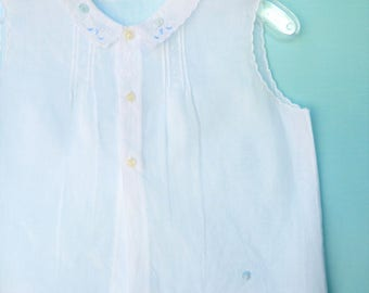 Vintage  White Infant Diaper Shirt  w/ Blue Embroidery & Tiny Collar    1 Year