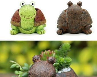 silicone mold Turtle shape lovely animal Multi-meat Flowerpot House Garden decorations cement clay mould