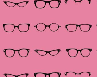 Riley Blake Geekly Chic Pink Glasses from Geekly Chic Collection