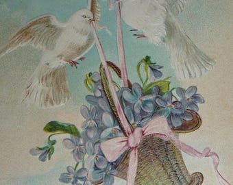 ON SALE till 7/28 Two White Does Carrying a Basket of Violets Antique Postcard