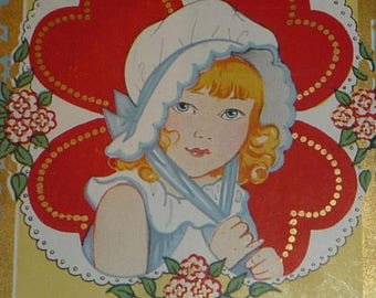 ON SALE till 7/28 Cute Girl Wearing a Bonnet - Valentine, Be Mine Vintage Postcard