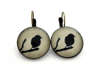 """Earrings sleepers """"black Bird on a branch"""" 20mm"""