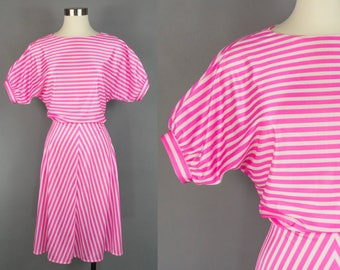 80s Pink Striped Midi Dress Large, Handmade Vintage Bias Cut Dress, Puff Sleeve, 1980s House Dress Chevron, Tea Length